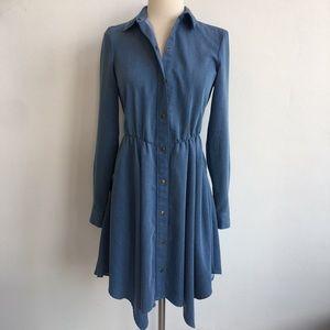 Rachel Roy Fit and Flare Denim Look Shirt Dress